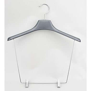 17 1/4in. Plastic Display Hanger With 12in. Drop, Chrome Hook, Pewter