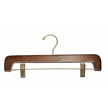 Wood Flat Bottom Hanger, Gold Hook, Walnut, 14in.