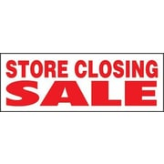 "8' x 3' Outdoor Banner ""STORE CLOSING SALE"", Red/White"