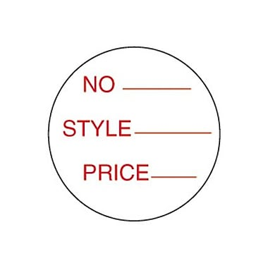 Style & Price Pressure Sensitive Label, Red on White