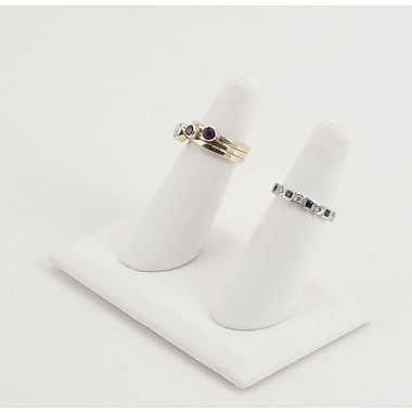 Leatherette Tall Double Finger Ring Display, White, 4in. x 2 1/4in. x 2 3/8in.