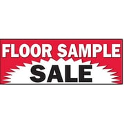 3' x 8' Outdoor Banner FLOOR SAMPLE SALE, White/Black on Red