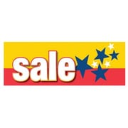 3' x 8' Outdoor Banner SALE, White on Red/Yellow