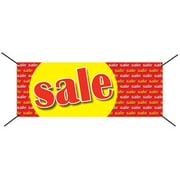 3' x 8' Outdoor Banner SALE, Red/Yellow on Red
