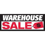 3' x 8' Outdoor Banner WAREHOUSE SALE, White/Red/Black