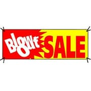 3' x 8' Outdoor Banner BLOW-OUT SALE, White/Red on Yellow