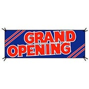 3' x 8' Outdoor Banner GRAND OPENING, Red on Blue