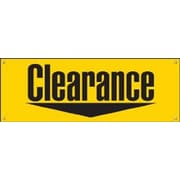3' x 8' Outdoor Banner CLEARANCE, Black on Yellow