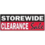 3' x 8' Outdoor Banner STOREWIDE CLEARANCE SALE, White on Red/Black