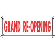 3' x 8' Outdoor Banner GRAND RE-OPENING, Red on White