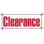 3' x 8' Outdoor Banner CLEARANCE, Red on White