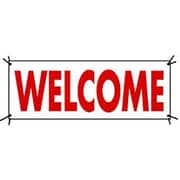 3' x 8' Outdoor Banner WELCOME, Red on White