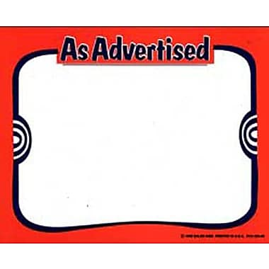 11in. x 7in. Econo Card in.AS ADVERTISEDin., Black on Red