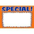 6in. x 4in. Econo Sign in.SPECIALin., Blue on Orange