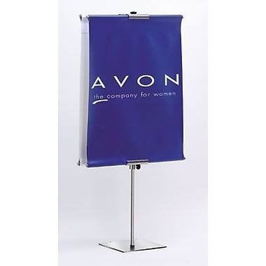 36in. - 96in. Banner Floor Stand, Silver
