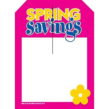 5in. x 7in. Slotted Tags in.SPRING Savingsin., Yellow/Blue/Pink on White