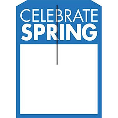 5in. x 7in. Slotted Tags in.CELEBRATE SPRINGin., Blue on White