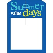 5 x 7 Slotted Tags SUMMER VALUE DAYS, Yellow/Blue on White