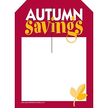 5in. x 7in. Slotted Tags in.AUTUMN Savingsin., Red/Yellow on White