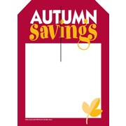 5 x 7 Slotted Tags AUTUMN Savings, Red/Yellow on White