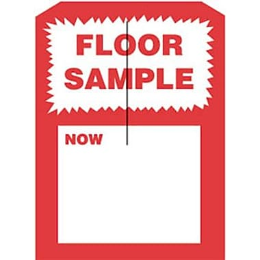 5in. x 7in. Slotted Tags in.FLOOR SAMPLEin., Red on White