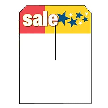 5in. x 7in. Slotted Tags in.Salein., Red/Yellow on White