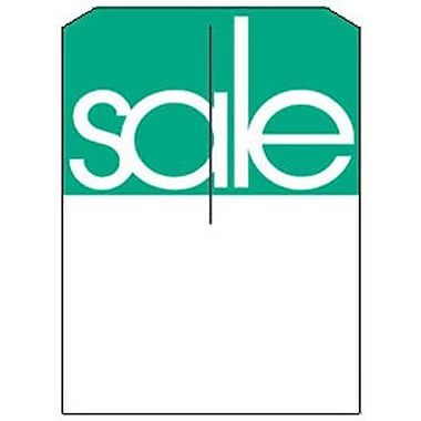 5in. x 7in. Slotted Tags in.Salein., Green on White