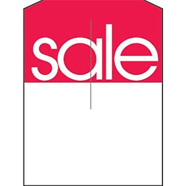 5in. x 7in. Slotted Tags in.Salein., Red on White