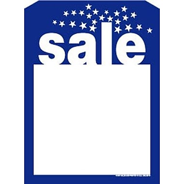 5in. x 7in. Slotted Tags in.Salein., Blue on White