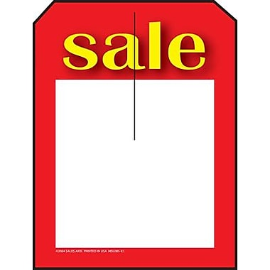 5in. x 7in. Slotted Tags in.Salein., Yellow/Red on White