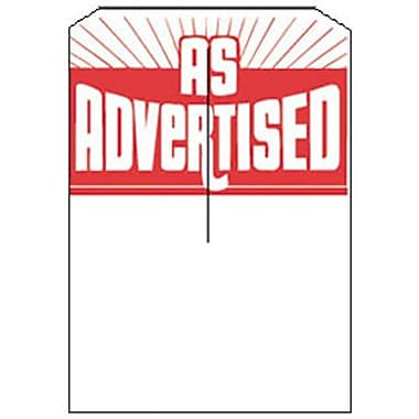 5in. x 7in. Slotted Tags in.AS ADVERTISEDin., Red on White