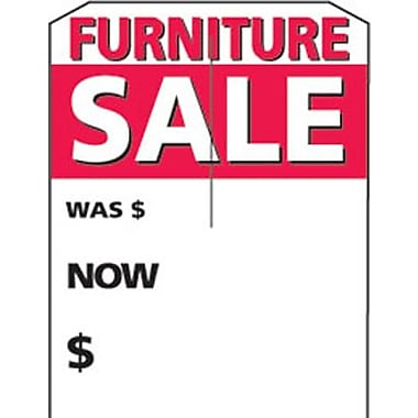 5in. x 7in. Slotted Tags in.FURNITURE SALEin., Red on White