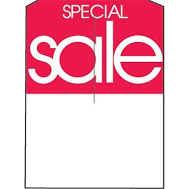 5in. x 7in. Slotted Tags in.SPECIAL Salein., Red on White