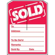 5 x 7 Slotted Tags SOLD, Red on White