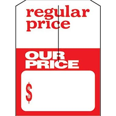5in. x 7in. Slotted Tags in.Regular price/Our Pricein., Red on White