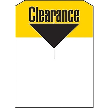 5in. x 7in. Slotted Tags in.Clearancein., Yellow/Black on White
