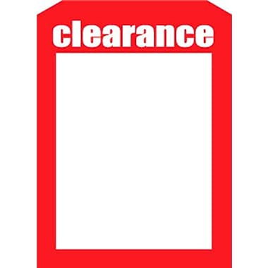 5in. x 7in. Slotted Tags in.Clearancein., Red on White