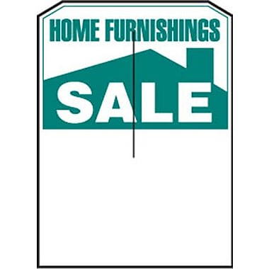 5in. x 7in. Slotted Tags in.HOME FURNISHINGS SALEin., Green on White