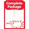 5in. x 7in. Slotted Tags in.Complete Packagein., Red on White