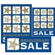14 Pcs Big Format Sign Kit in.ANNIVERSARY SALEin., White/Gold on Blue