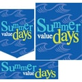 22 Pcs Budget Sign Kit in.SUMMER VALUE DAYSin., White/Yellow on Blue