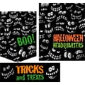 22 Pcs Budget Sign Kit in.HALLOWEEN HEADQUARTERSin., Orange/Green on Black
