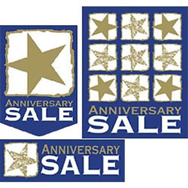 22 Pcs Budget Sign Kit in.ANNIVERSARY SALEin., White/Gold on Blue