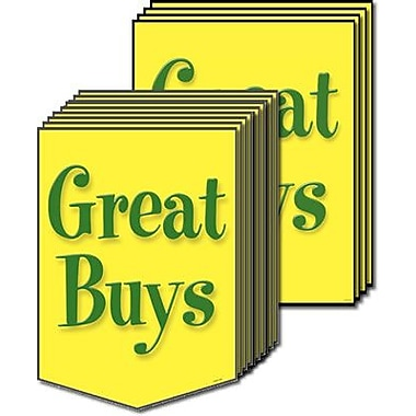 20 Pcs Retail Sign Kit in.GREAT BUYSin., Green on Bright Yellow