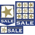36 Pcs Super Sign Kit in.ANNIVERSARY SALEin., White/Gold on Blue