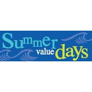 19 x 57 Jumbo Paper Banner SUMMER VALUE DAY, White/Yellow on Blue