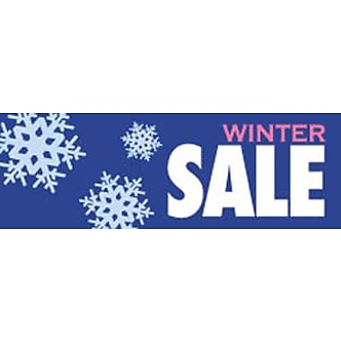 19in. x 57in. Jumbo Paper Banner in.WINTER SALEin., White/Pink on Blue
