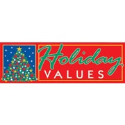 19 x 57 Jumbo Paper Banner HOLIDAY VALUES, White/Green on Red