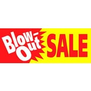 19 x 57 Jumbo Paper Banner BLOW-OUT SALE, White/Red on Yellow