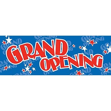 9 1/2in. x 28 1/2in. Jump Stars Streamer in.GRAND OPENINGin., Red on Blue